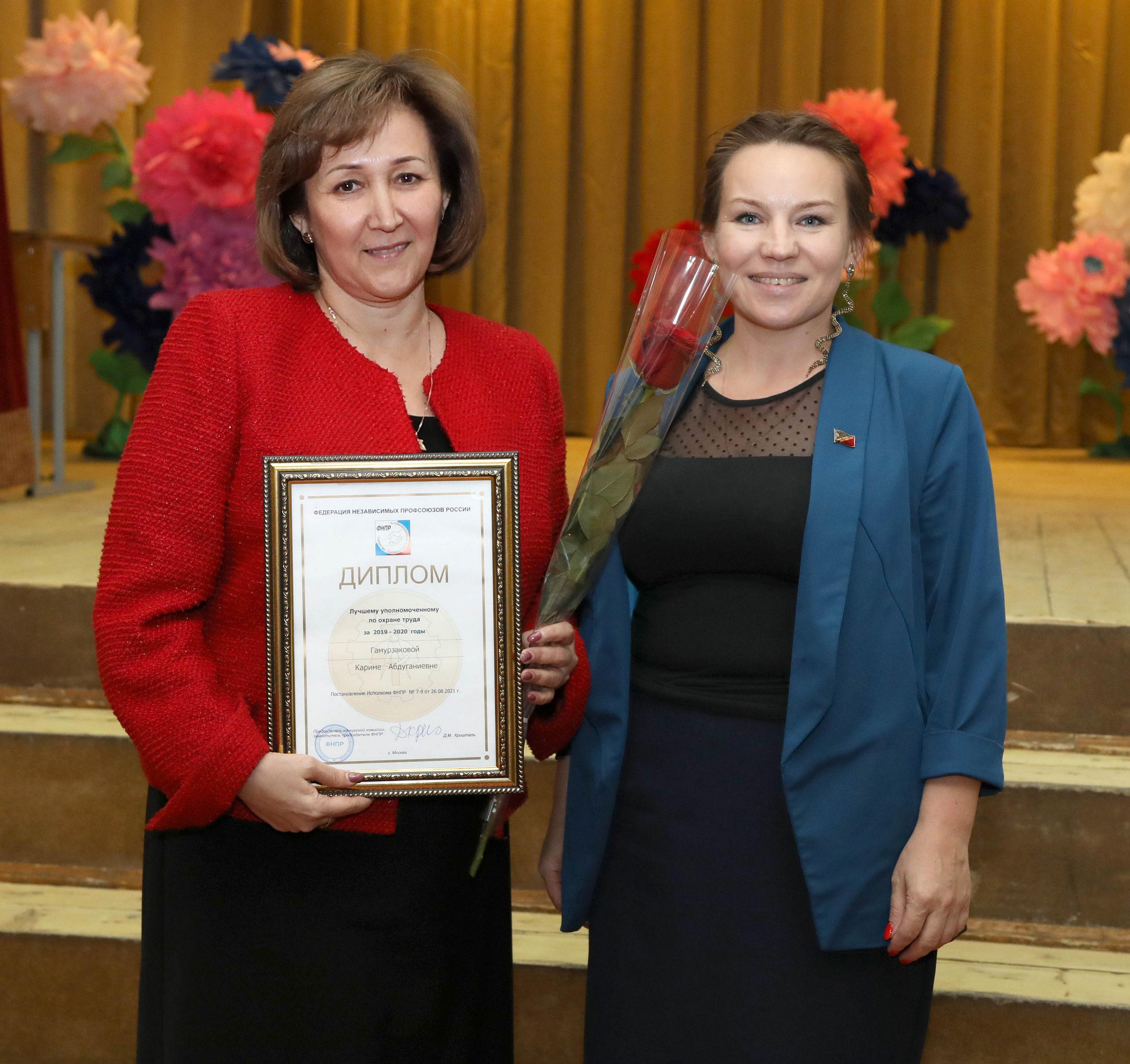 Кариме Гамурзаковой присвоено звание «Лучший уполномоченный по охране труда ФНПР за 2019-2020 года»